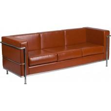 HERCULES Regal Series Contemporary Cognac Leather Sofa with Encasing Frame [ZB-REGAL-810-3-SOFA-COG-GG]