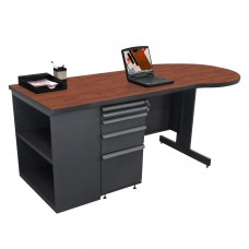 Beautiful Zapf Office Desk with Bookcase, 75W x 30H, Dark Neutral Finish/Collector's Cherry Laminate