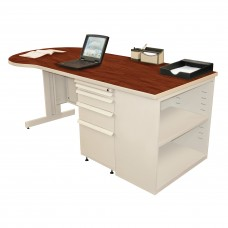 Beautiful Zapf Office Desk with Bookcase, 75W x 30H, Putty Finish/Collector's Cherry Laminate