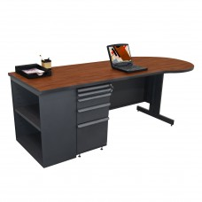 Beautiful Zapf Office Desk with Bookcase, 87W x 30H, Dark Neutral Finish/Collector's Cherry Laminate