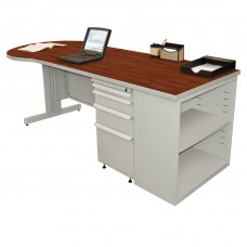 Beautiful Zapf Office Desk with Bookcase, 87W x 30H, Light Gray Finish/Collector's Cherry Laminate