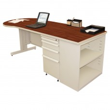 Beautiful Zapf Office Desk with Bookcase, 87W x 30H, Putty Finish/Collector's Cherry Laminate