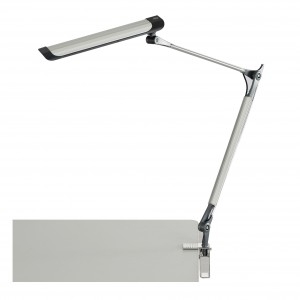 Silver 10W Z-Arm LED Drafting Light with C-Clamp & 3-Step Dimmer - Silver