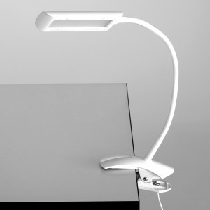 White 6W Clamp-On LED Task Light with Flexible Arm & 3-Step Dimmer - White