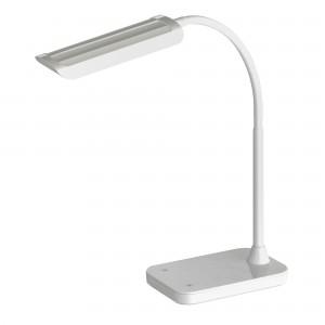 Mini-Vamp™ White 12W LED Task Light with Flexible Arm, Touch Strip Dimmer & USB Port - White