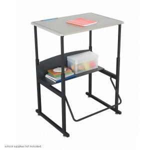 "AlphaBetter Adjustable-Height Stand-Up Desk, 28 x 20"" Standard Top - Black/Beige"