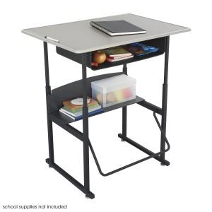 "AlphaBetter Adjustable-Height Stand-Up Desk, 36 x 24"" Standard Top - Black/Beige"
