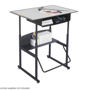 "AlphaBetter Adjustable-Height Stand-Up Desk, 36 x 24"" Premium Top, Gray/Black"