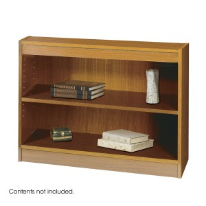 Square-Edge Veneer Bookcase - 2 Shelf - Medium Oak
