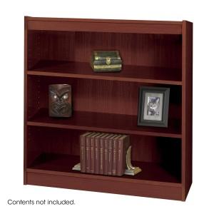 Square-Edge Veneer Bookcase - 3 Shelf - Mahogany