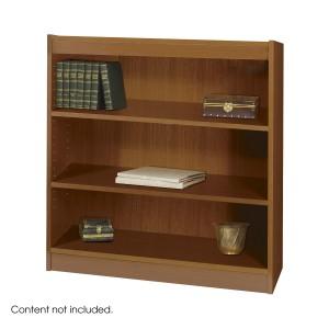 Square-Edge Veneer Bookcase - 3 Shelf - Medium Oak