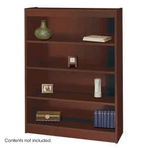 Square-Edge Veneer Bookcase - 4 Shelf - Mahogany