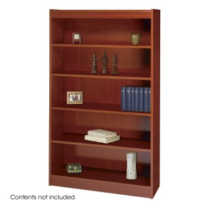 Square-Edge Veneer Bookcase - 5 Shelf - Cherry