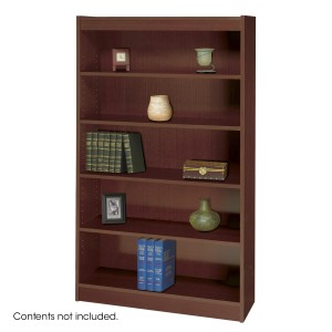 Square-Edge Veneer Bookcase - 5 Shelf - Mahogany