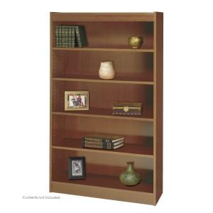 Square-Edge Veneer Bookcase - 5 Shelf - Medium Oak