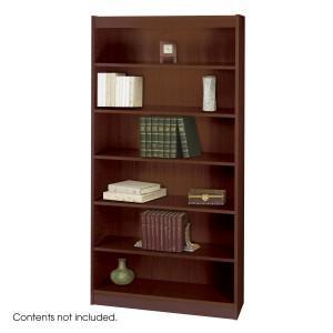 Square-Edge Veneer Bookcase - 6 Shelf - Mahogany