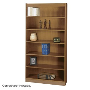 Square-Edge Veneer Bookcase - 6 Shelf - Medium Oak