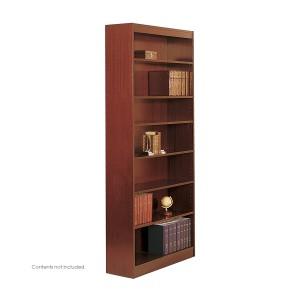 Square-Edge Veneer Bookcase - 7 Shelf - Cherry
