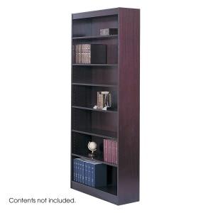 Square-Edge Veneer Bookcase - 7 Shelf - Mahogany