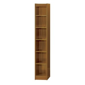 "6-Shelf Veneer Baby Bookcase, 12""W - Medium Oak"