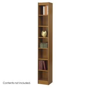 """7-Shelf Veneer Baby Bookcase, 12""""W - Medium Oak"""