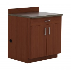 Hospitality Base Cabinet, One Drawer/Two Door - Rustic Slate (counter top);Mahogany (cabinet)