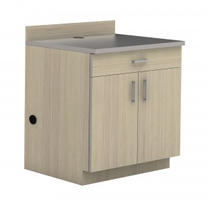 Hospitality Base Cabinet, One Drawer/Two Door - Vanilla Stix (cabinet);Gray (counter top)