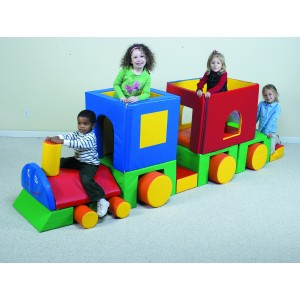Children's Factory Little Train with Caboose Classroom Furniture Climber for Kids Indoor Climber (126 x 32 x 38 in)