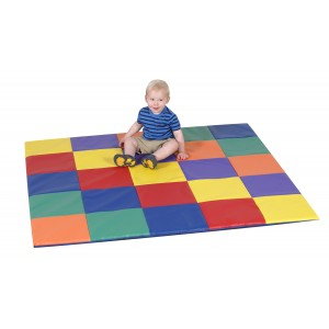 Children's Factory Patchwork Crawly Mat Primary Colors Soft Play Mat for Kids (57 x 57 x 1 in)