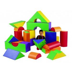 "Children's Factory Module Blocks 12"" Foam Play Set for Kids 35 Pieces Playroom Décor Play Foam (36 x 12 x 12 in)"