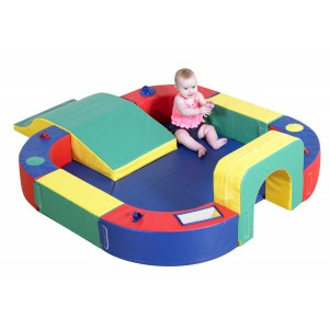Children's Factory Playring with Tunnel and Slide Indoor Playground for Toddlers Active Play Set for Kids (76 x 56 x 16 in)