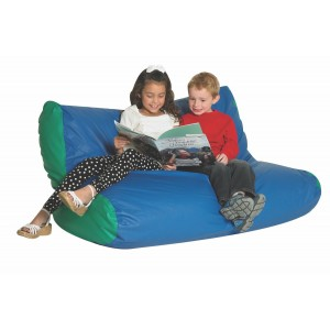 School Age Double High Back Lounger - Blue & Green