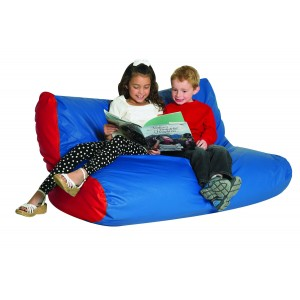 School Age Double High Back Lounger - Blue & Red