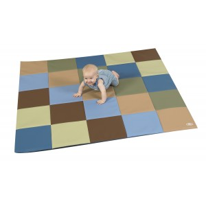 Children's Factory Patchwork Crawly Mat Woodland Colors Soft Play Mat for Kids (57 x 57 x 1 in)