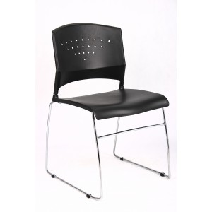Black Stack Chair With Chrome Frame 2 Pcs Pack
