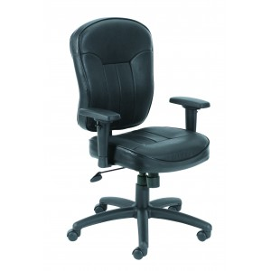 Black Leather Task Chair W/ Wild Arms