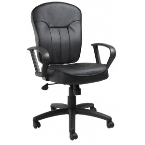 Black Leather Task Chair W/ Loop Arms