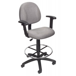 Drafting Stool (B315-GY) W/Footring And Adjustable Arms