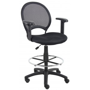Mesh Drafting Stool W/ Adjustable Arms