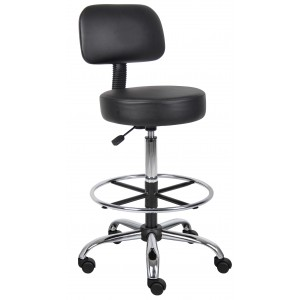 Caressoft Medical/Drafting Stool W/ Back Cushion