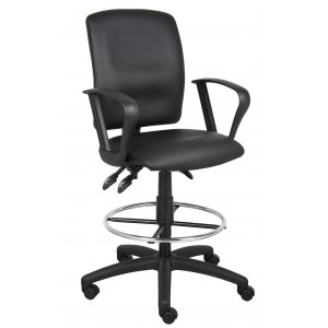 Multi-Function LeatherPlus Drafting Stool W/ Loop Arms