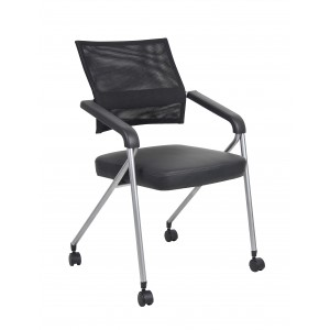 Black Mesh Training Chair With Pewter Frame,2 In A Box
