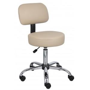 Beige Caressoft Medical Stool W/ Back Cushion