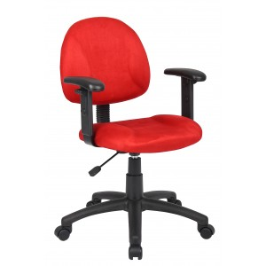 Red Microfiber Deluxe Posture Chair W/ Adjustable Arms.