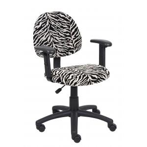 Zebra Print Microfiber Deluxe Posture Chair W/ Adjustable Arms.