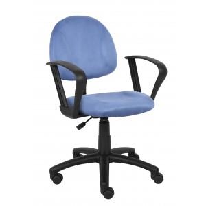 Blue Microfiber Deluxe Posture Chair W/ Loop Arms.