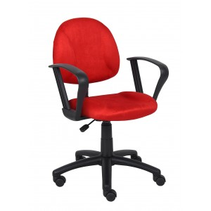 Red Microfiber Deluxe Posture Chair W/ Loop Arms.