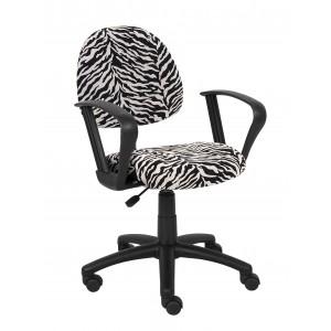 Zebra Print Microfiber Deluxe Posture Chair W/ Loop Arms.