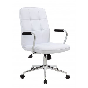 Modern Office Chair w/Chrome Arms- White