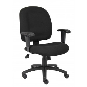 Black Fabric Task Chair W/ Adjustable Arms